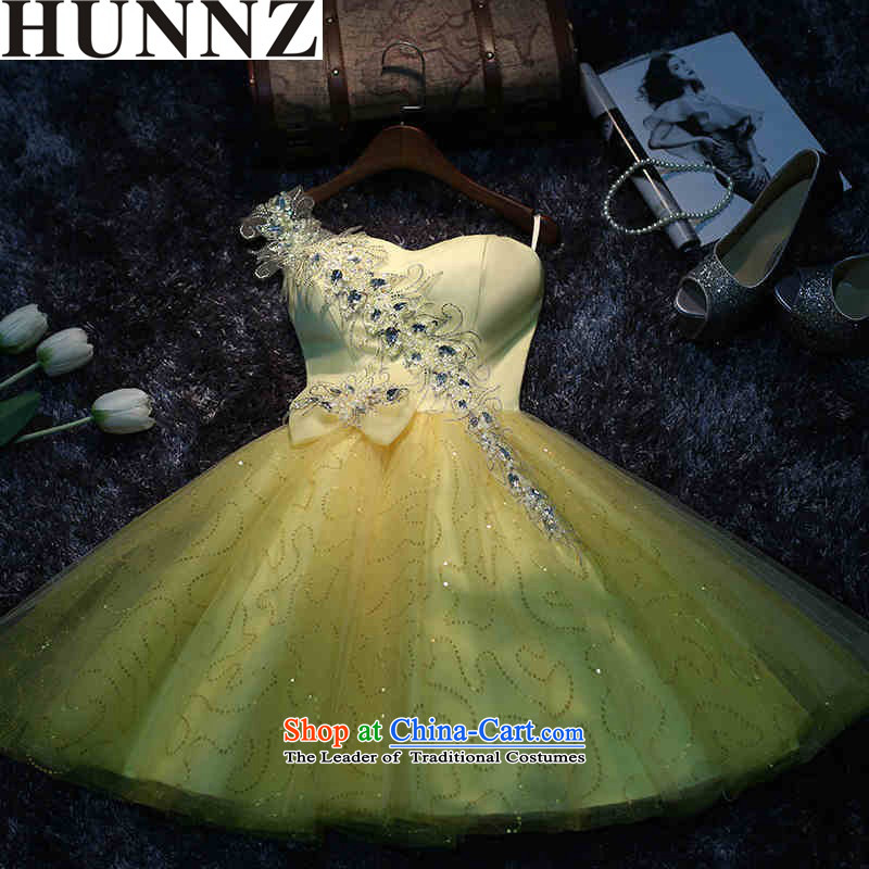 New 2015 HUNNZ spring and summer stylish yellow dress brides shoulder dress uniform dress bows yellow?XXL