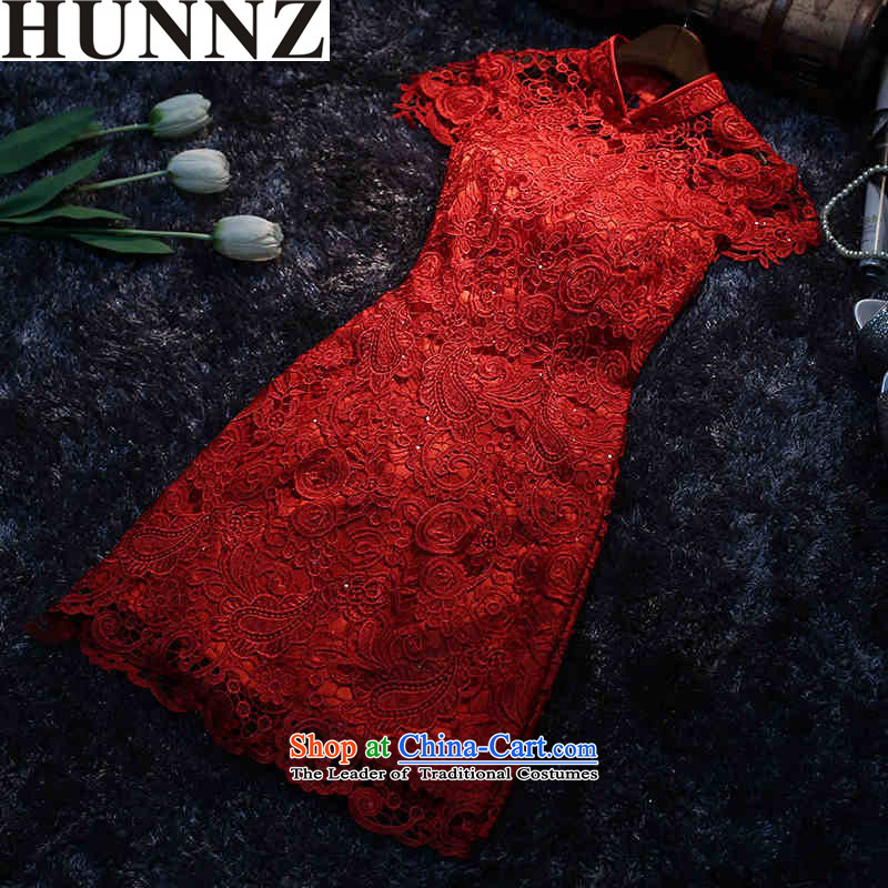? ?Korean fashion 2015 HUNNZ New banquet evening dresses bows to red dress video thin bride elegant large red?L