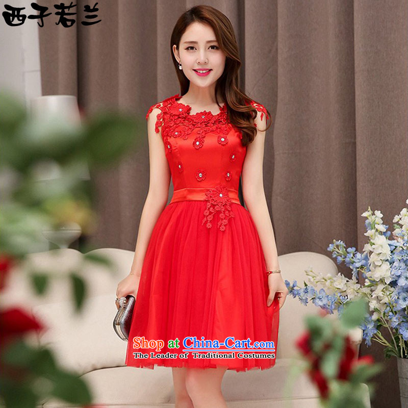 Hsitzu Jorin�2015 Summer new bride dress posted blossoms Silk Dresses Women�1530�Red�XL