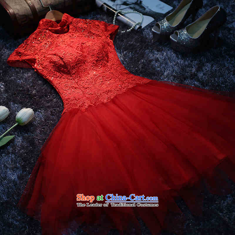 2015 New Korea HUNNZ fashion and the spring and summer evening dress short of ethnic banquet service bridal dresses dress bows red?S