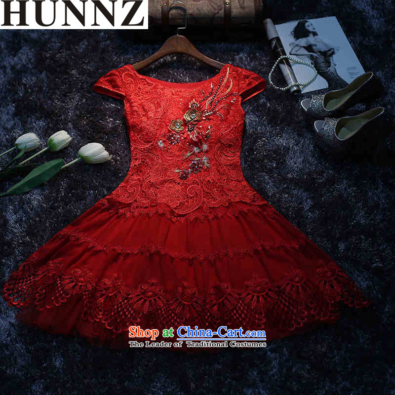 The new 2015 HUNNZ Korean lace short, Red Dress bridal dresses dinner drink service red�S