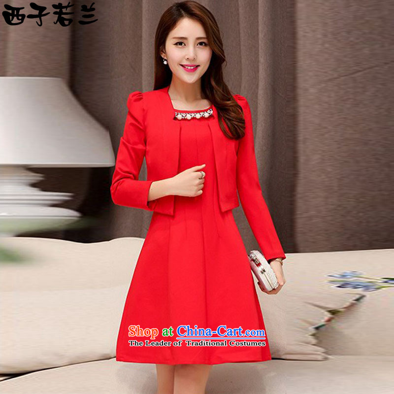 Hsitzu jorin?spring and autumn 2015 installed new two kits bride dress bows to skirt the girl?1528?Red?XL