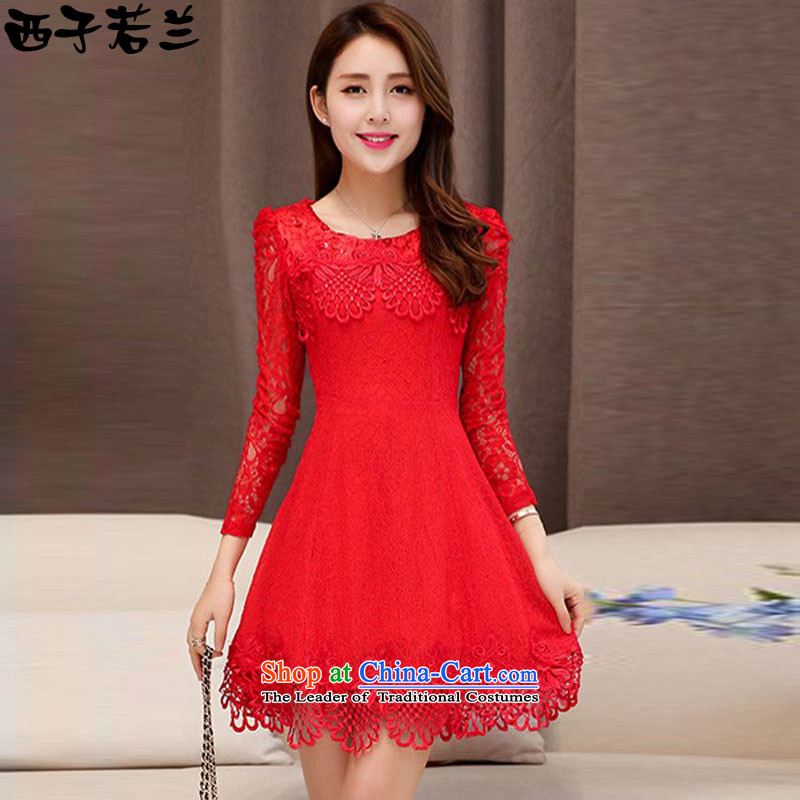 Hsitzu jorin?spring and autumn 2015 installed new bride dress engraving lace dresses female?1525?RED?M