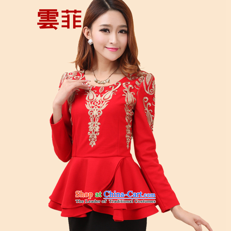 The Cloud,?  2015 Fall/Winter Collections new stylish temperament female large graphics package and banquet thin Sau San long-sleeved dresses Red?2XL