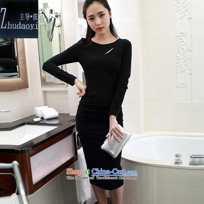 In accordance with the 2015 autumn load lead the new Korean temperament and sexy Sau San long-sleeved back forming the dresses engraving the forklift truck dress 210 Black M
