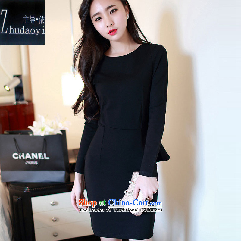 In accordance with the 2015 autumn load leading new long-sleeved elegant forming the gift of the Sau San skirts services Korean married Red Dress 212 black L