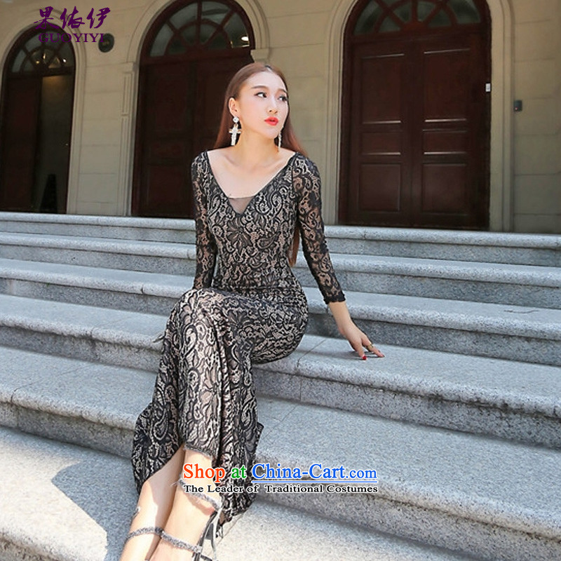In accordance with the results of the�2015 autumn of the new Europe and sexy fluoroscopy lace crowsfoot long-sleeved deep V dress dresses 9123 dark surface�S