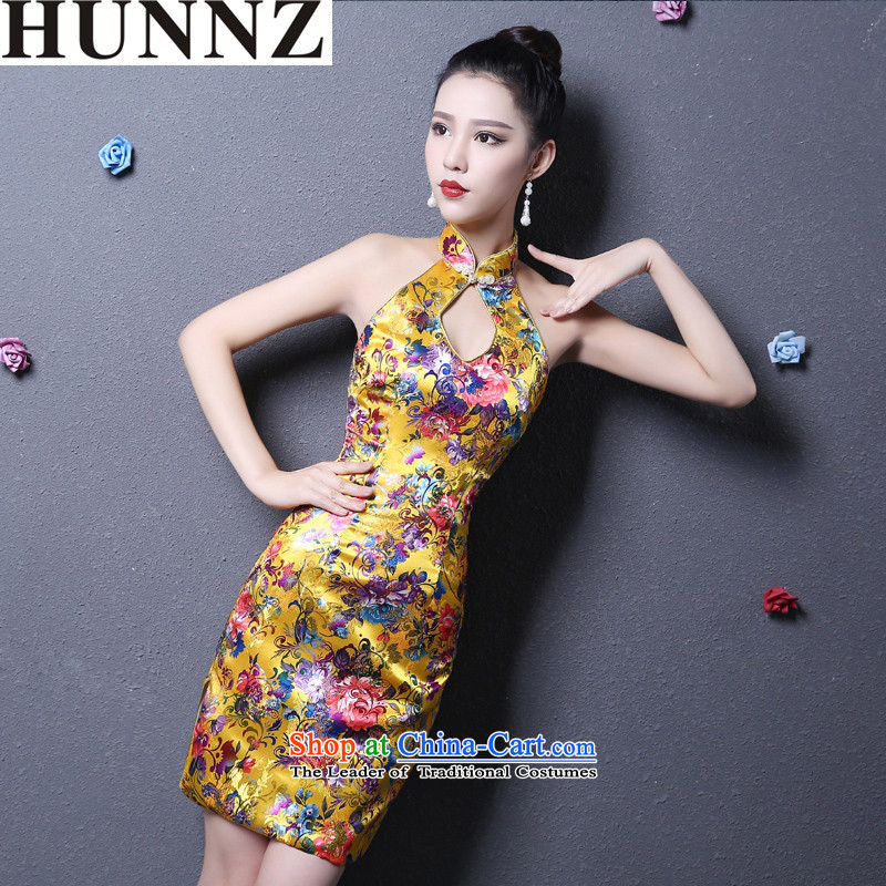 Korean-style 2015 HUNNZ new spring and summer Sau San video of the forklift truck qipao thin banquet evening dresses bride bows services also hang back gold XXL