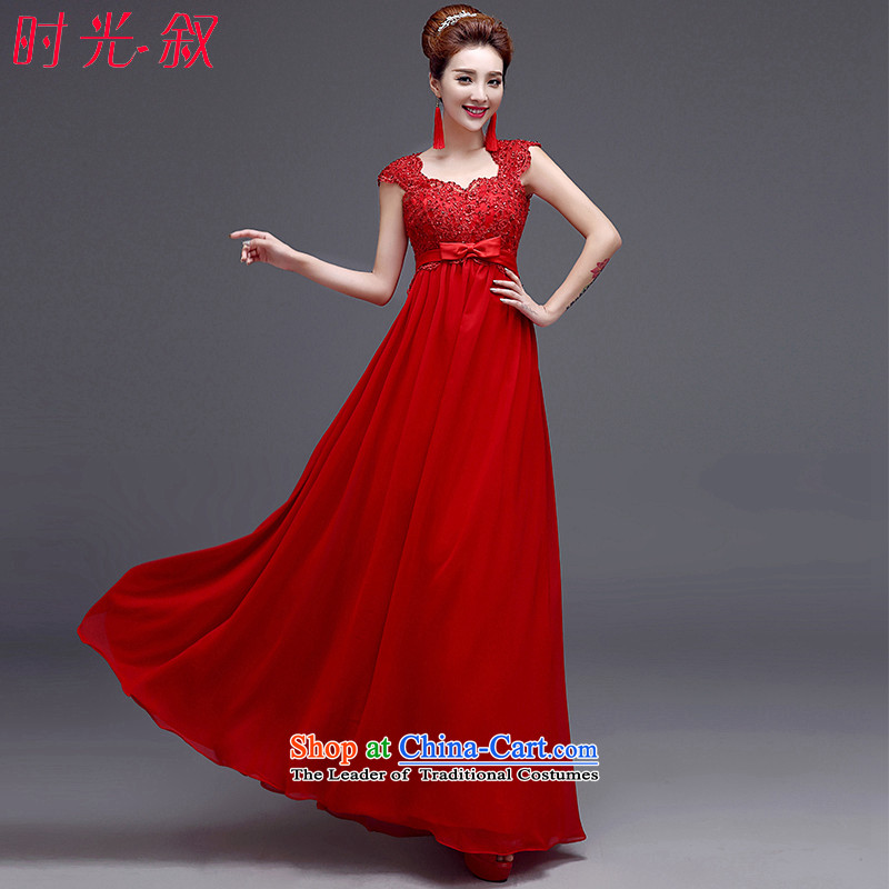 The Syrian Red time high-waist larger bows services for pregnant women autumn 2015 shoulders V-Neck marriages evening dresses red XXL