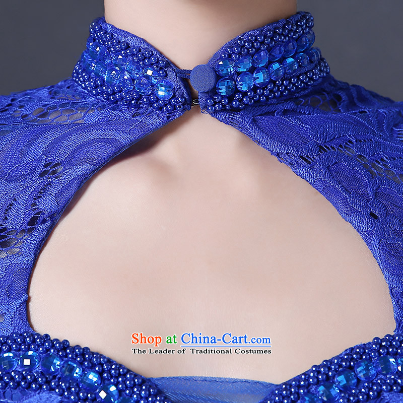 ?  ?Long blue qipao HUNNZ 2015 Spring/Summer new graphics thin crowsfoot banquet evening dresses bride dress bows services Blue?M