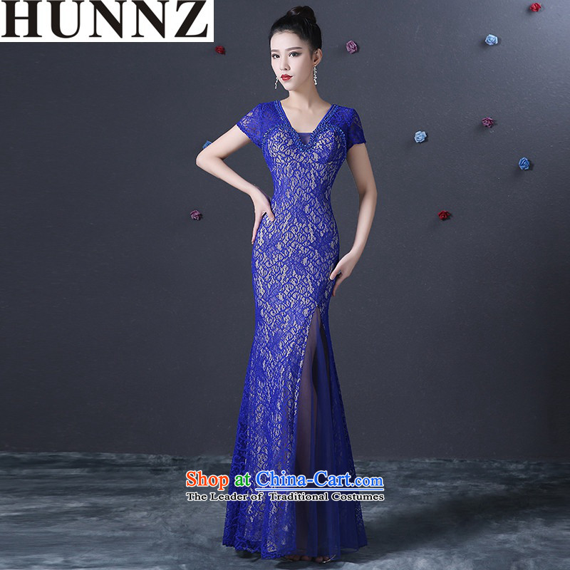 �   �Crowsfoot video thin package HUNNZ shoulder Sau San minimalist 2015 New banquet dinner dress bride dress bows services Blue�M