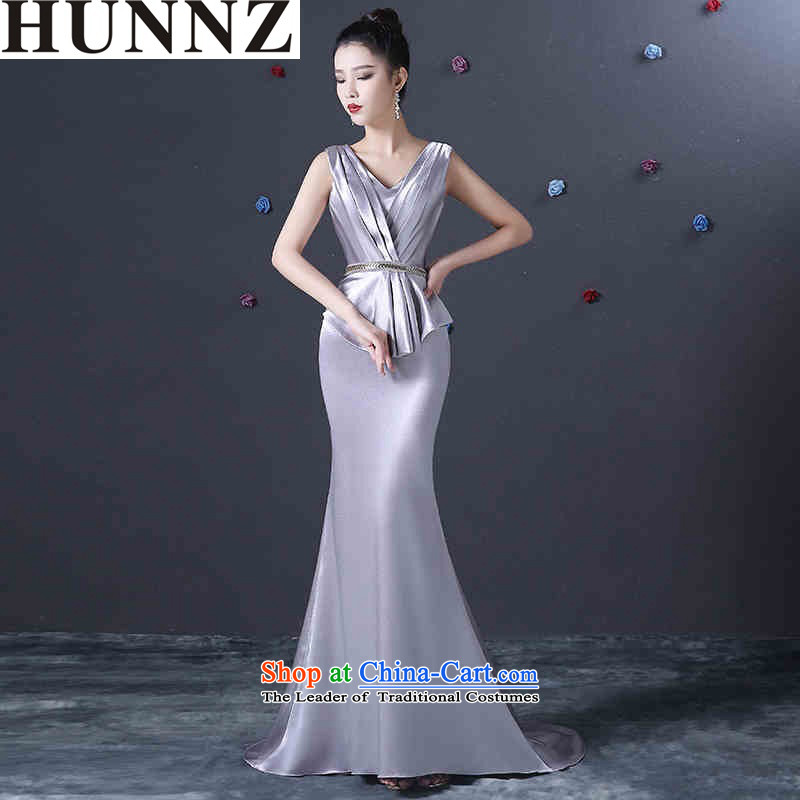?  ?Deep long V HUNNZ banquet evening dresses silver spring and summer 2015 new stylish and simple bridal dresses silver?M