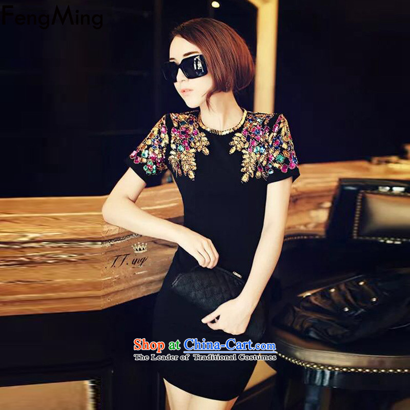 聽At the beginning of autumn 2015 Ming Fung Ching Ching, nail pearl on the same chip heavy industry small black skirt dresses Sau San short-sleeved black skirt wear聽L