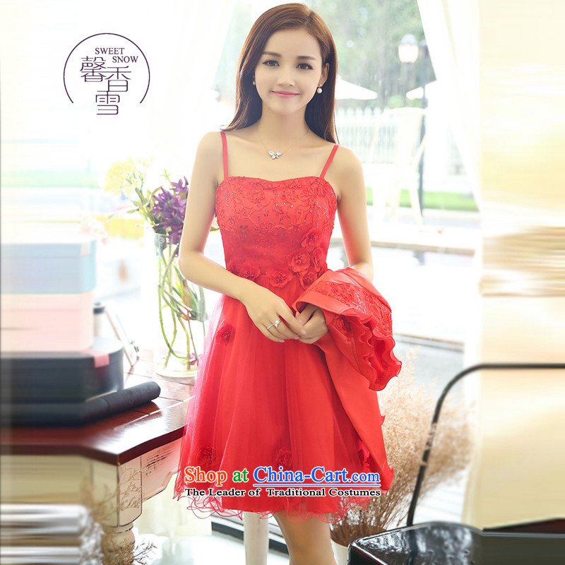 The fragrant incense snow fall 2015 Red A field dresses with long-sleeved small shawl two kits bride bridesmaid marriage betrothal back to the door of the Sau San dress red?L