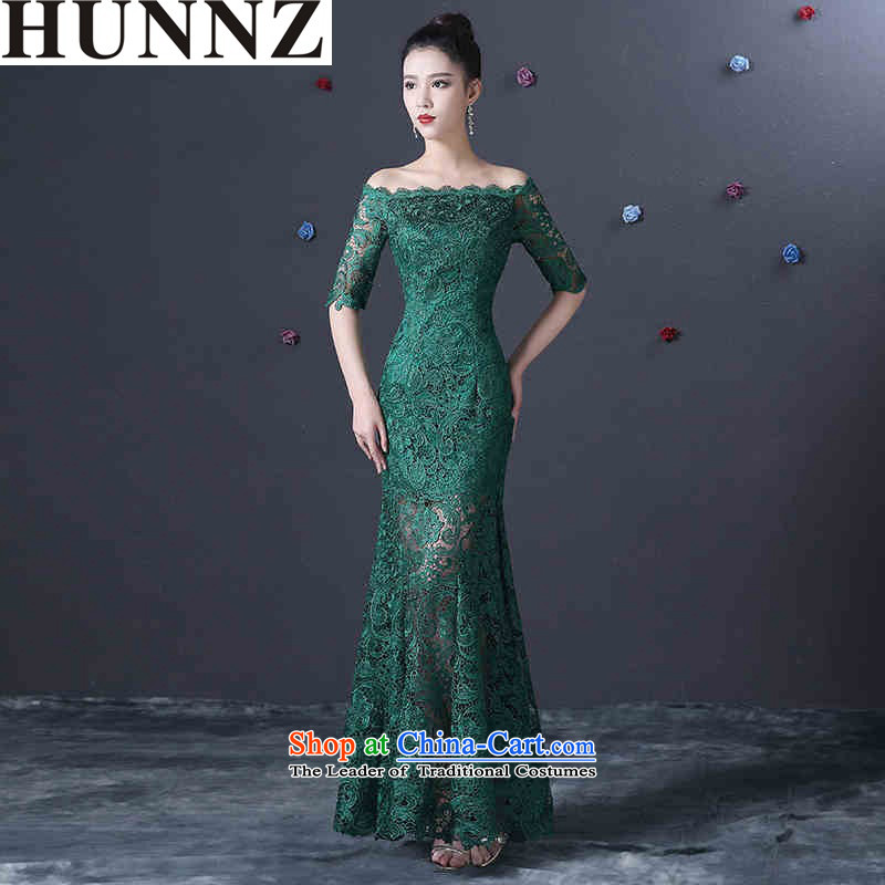 ?   ?Korean fashion 2015 HUNNZ Sau San minimalist long word crowsfoot shoulder banquet evening dresses bridal dresses green?XXL