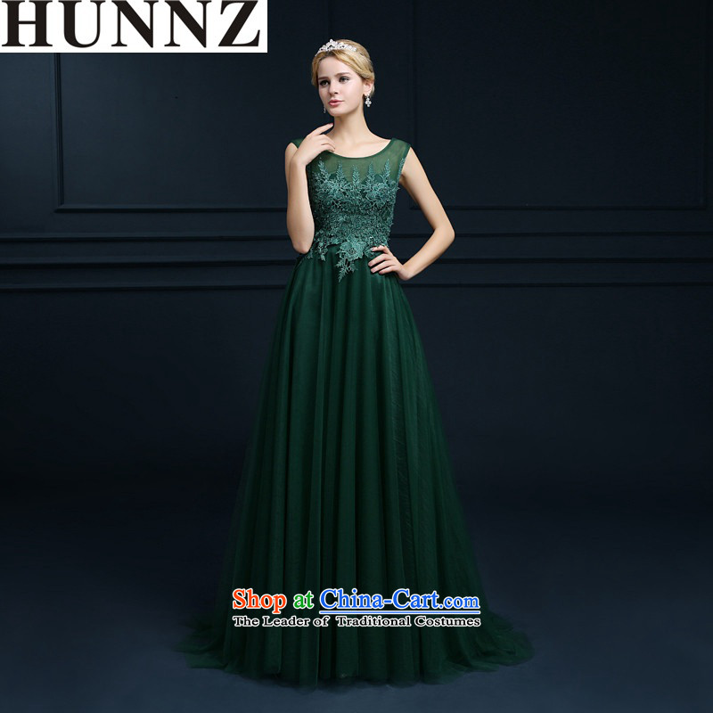� �Large stylish HUNNZ long 2015 new spring and summer tail lace banquet Service Bridal Services bows dress emerald-�S