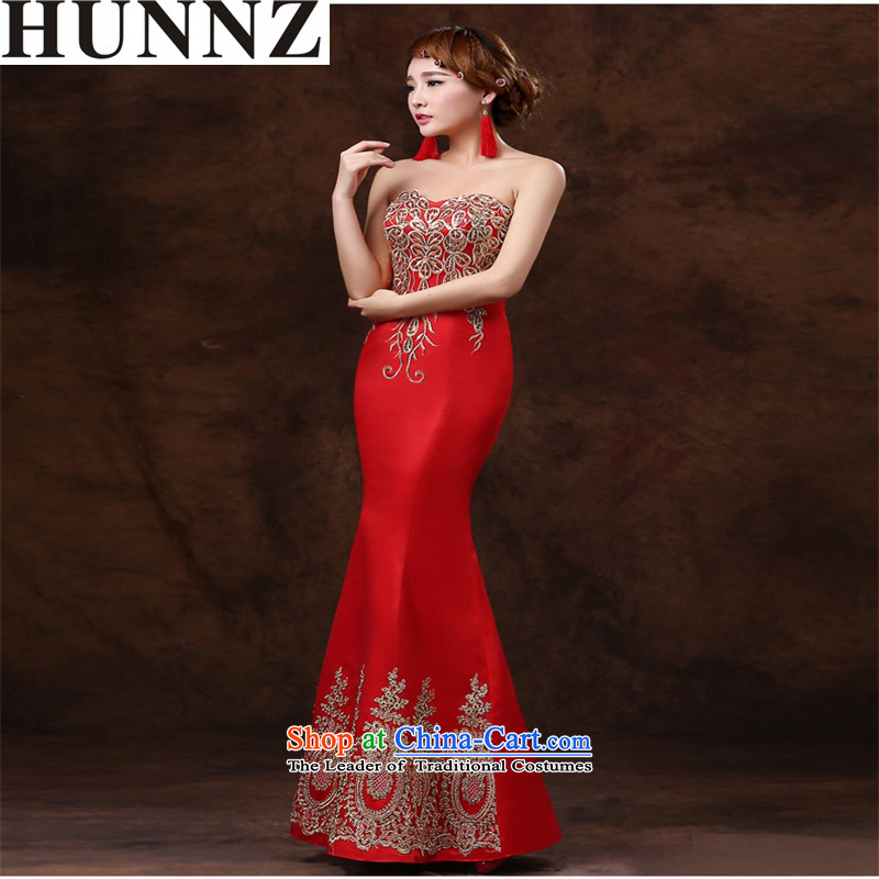 �   �Wipe the chest 2015 HUNNZ crowsfoot stylish new spring and summer long banquet evening dresses bride services bride red bows�XL
