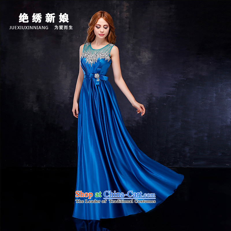 2015 summer evening dress bride new 2 shoulder length of large graphics thin marriage banquet crowsfoot bows services Blue?M?Suzhou Shipment