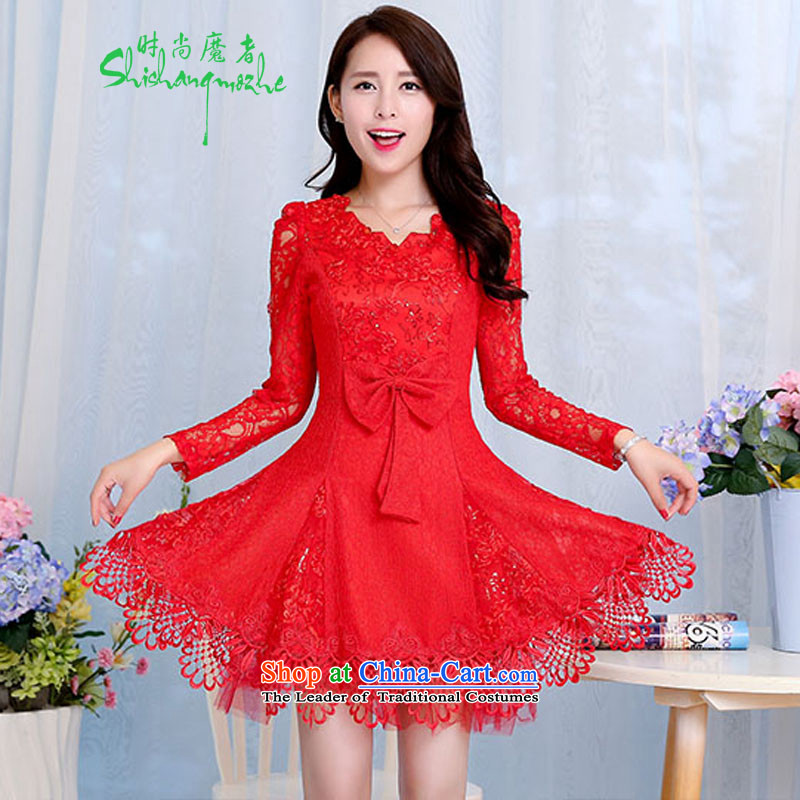 Stylish new 2015 devil of long-sleeved bridal dresses lace bows services hook spend a Bow Tie dresses female red�XXL�RED�XXL