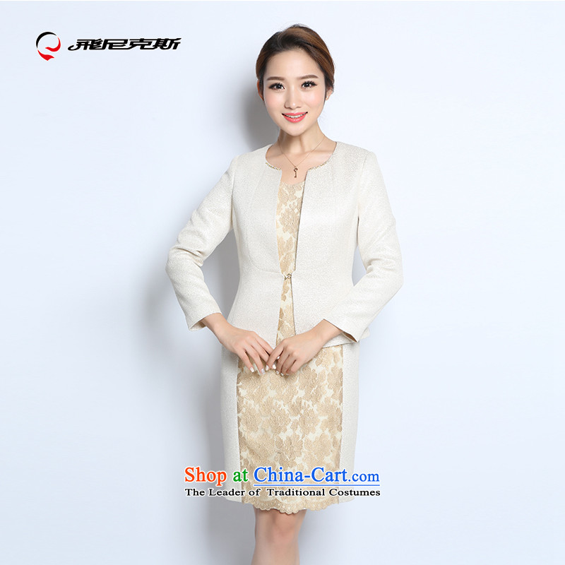 The Knicks, overflew the autumn new products pure color temperament large middle-aged women's mother replacing lace two kits dresses�170/100A Jacket