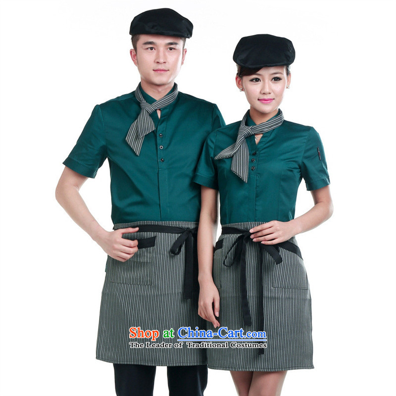The hotel-hwan workwear summer clothing hotel restaurant staff fast short-sleeve female dining during the summer months and Ms. Green clothing�XXL