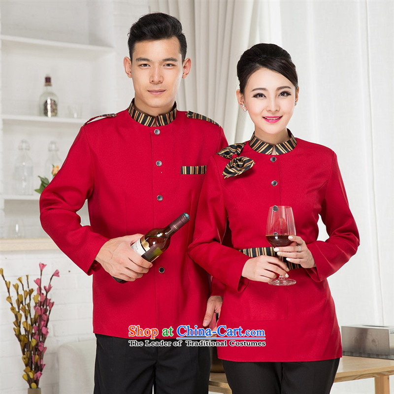Mano-hwan's 2015 new hotel workwear fall_winter collections of Chinese and Western-style hotel restaurant female Hot Pot Restaurant in men and women staff Ms. long-sleeved XXXL Purple
