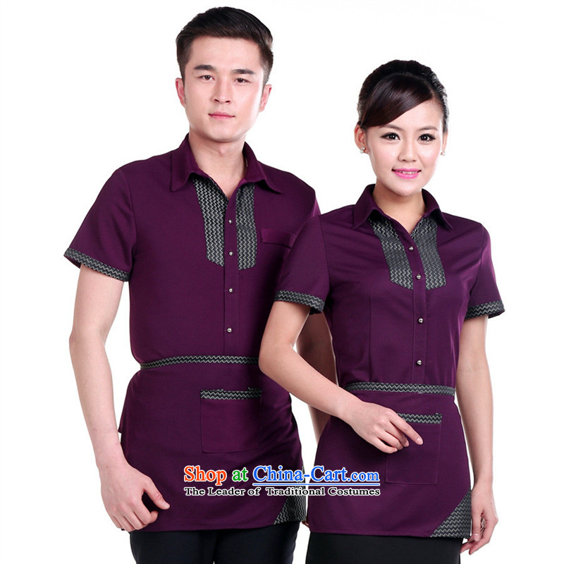 The hotel-hwan workwear summer female hotel short-sleeved clothing fast food restaurants cafe, purple, Ms. men and women XL