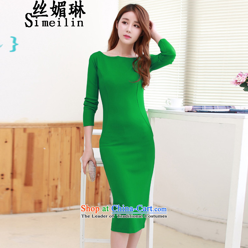 The population of autumn 2015 Installed Name Lin Yuan sexy beauty package and the forklift truck in the long skirt dress dresses green?L