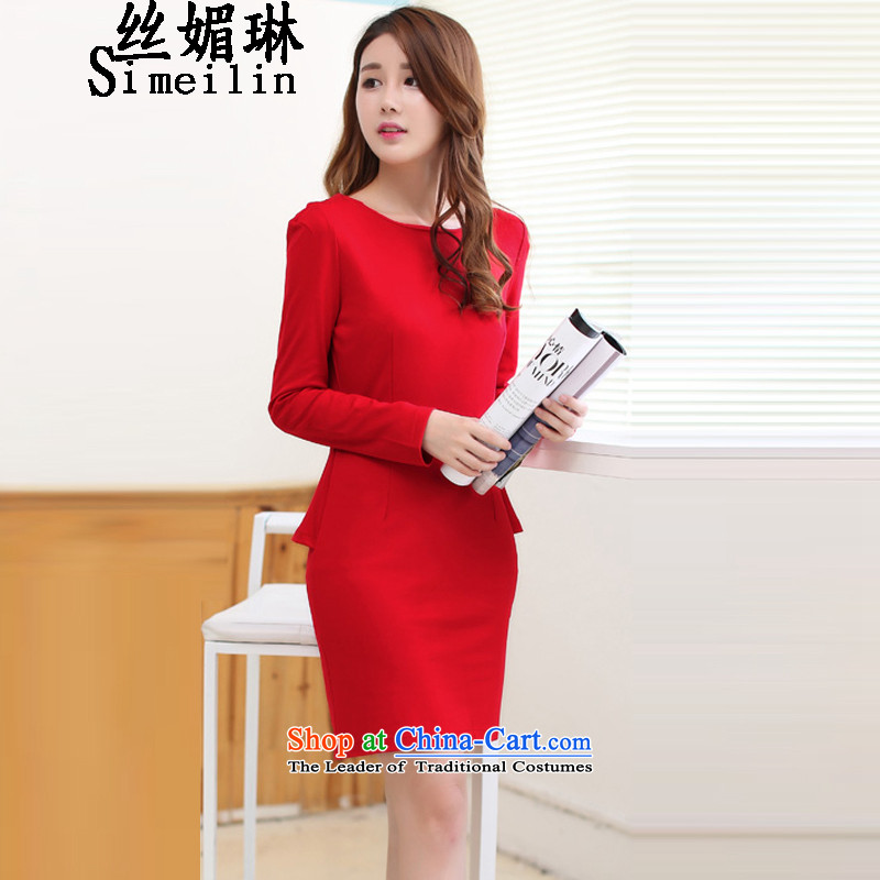 The population of autumn and winter 2015 Lin new long-sleeved gown Korean elegant beauty marriage Red Dress Female Red�L