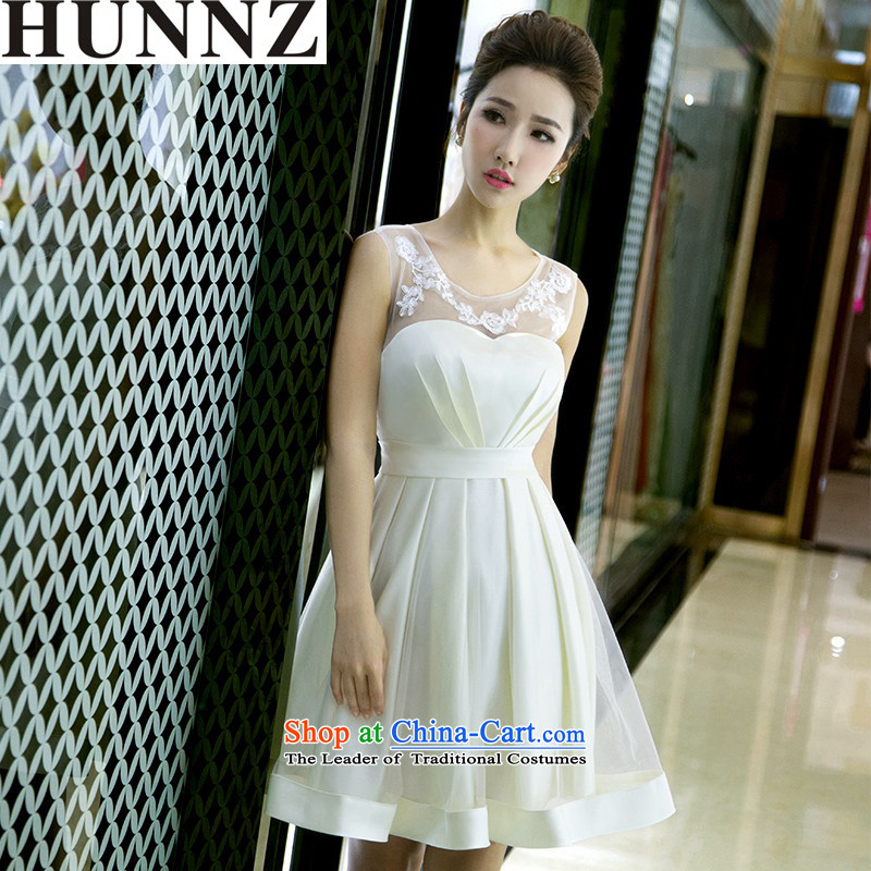 The new 2015 HUNNZ spring and summer short sleek minimalist Sau San larger bride dress bows bridesmaid service light clothing champagne color?S
