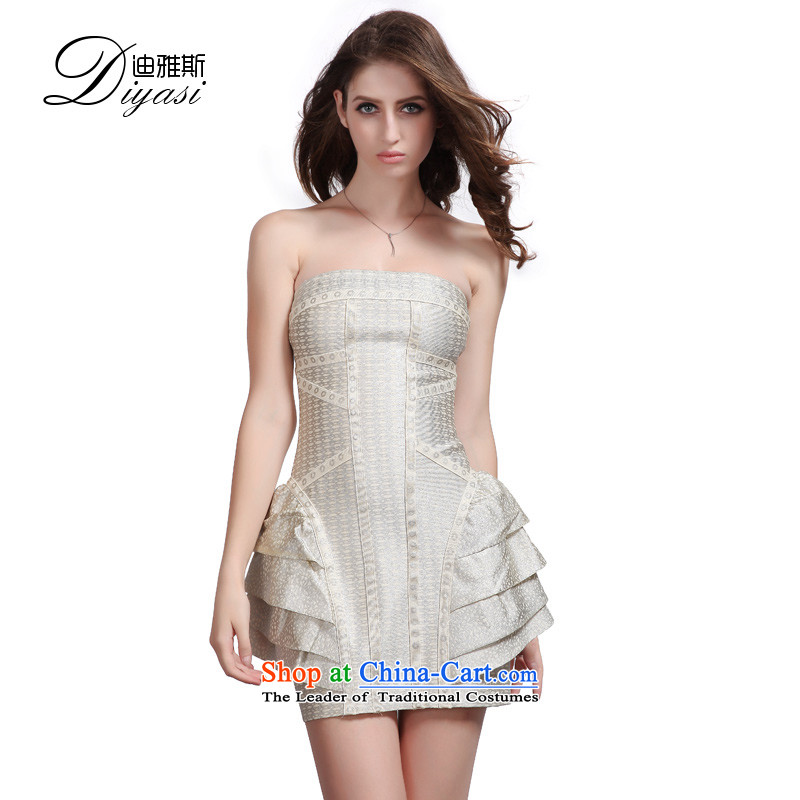 The new 2015 Annual Meeting banquet company evening upscale iron silver package and shape of the Sau San bandages small dress ironing silver?S