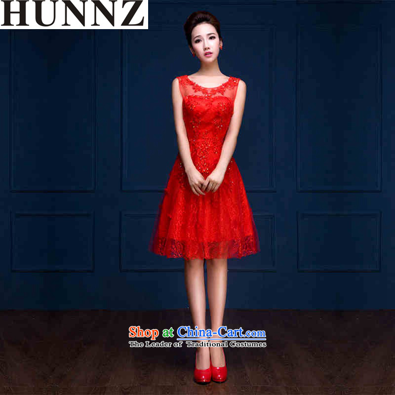 2015 Fashion Korean-style HUNNZ larger Sau San minimalist spring and summer short of evening dresses bride dress bows services red�L