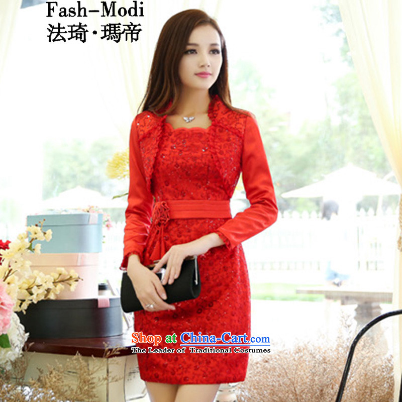 The law was the 2015 Autumn Qi load new Korean aristocratic bridesmaid marriages bows evening dresses female red lace dresses two-piece set with red 9959 wedding dresses,?L- size is too small.