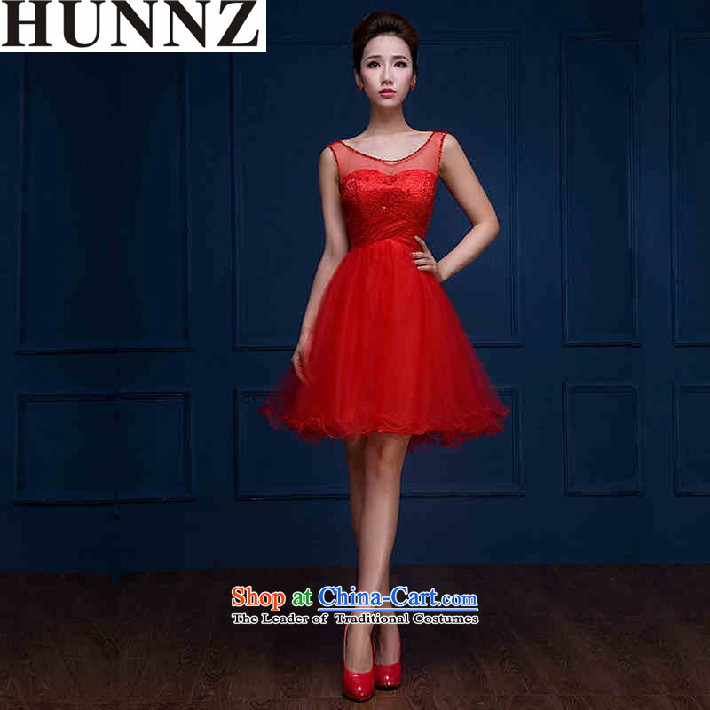 ?New stylish 2015 HUNNZ Korean Sau San minimalist large short of evening dresses bride dress uniform red?XXL toasting champagne
