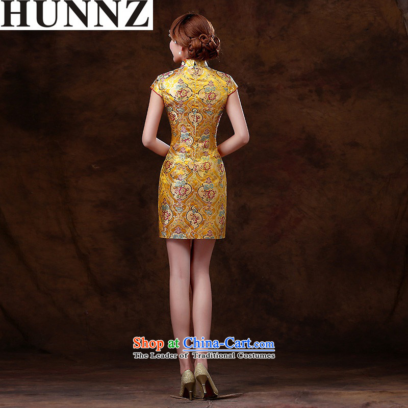 ?   ?Stylish retro HUNNZ 2015 new improved version of qipao short spring and summer, bridal dresses bows services bridesmaid services yellow?XXL