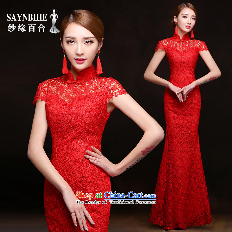 The leading edge of the Formosa lily wedding dresses 2015 autumn and winter new dress a bride bows services field shoulder Sau San crowsfoot dress banquet dress marriage long red dress red crowsfoot XXL