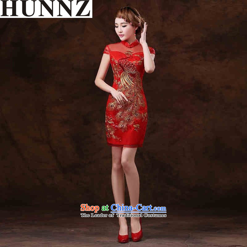 ?  ?Chinese qipao) 2015 HUNNZ spring and summer short of the new bride dress bows services red banquet evening dress red?XXL