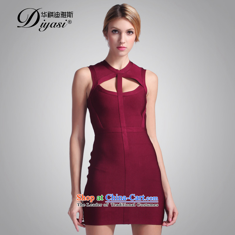 Hua Qi Avandia, winter new noble wine red hotel engraving small dress temperament video in shape thin dresses wine red�M