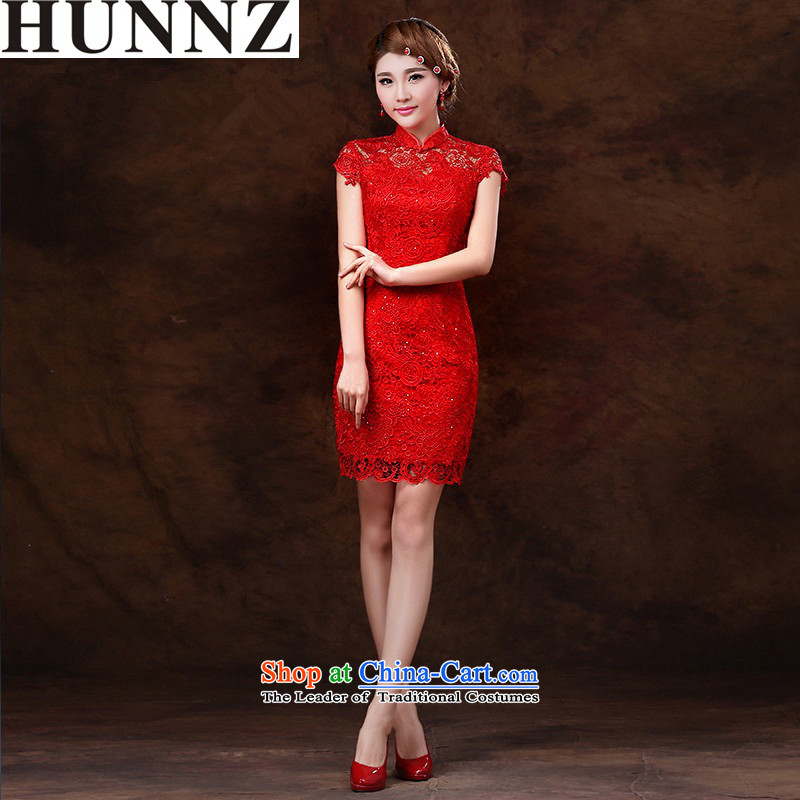 Hunnz   ?bride wedding dress qipao new 2015 spring_summer service banquet dress drink red Sau San Red?L