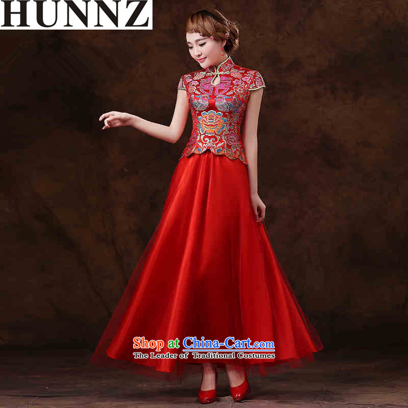 ?  ?The new summer 2015 HUNNZ Red Stylish retro larger Sau San minimalist bride wedding dress evening dresses red?XXL