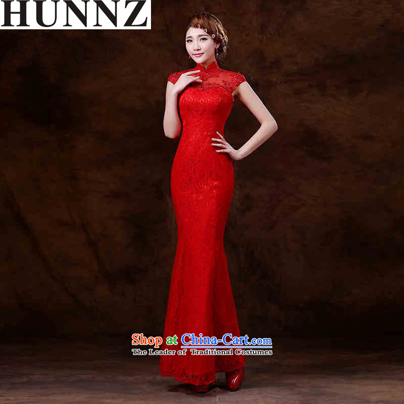 Hunnz   ?Korean lace long Stylish spring 2015 Hsia sing qipao gown bows Service Bridal evening dress RED?M