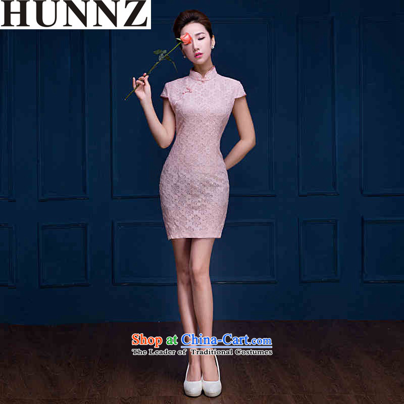 ?  ?The new 2015 improvements HUNNZ qipao short of elegant and stylish girl brides pure color wedding dress bows services Pink?L