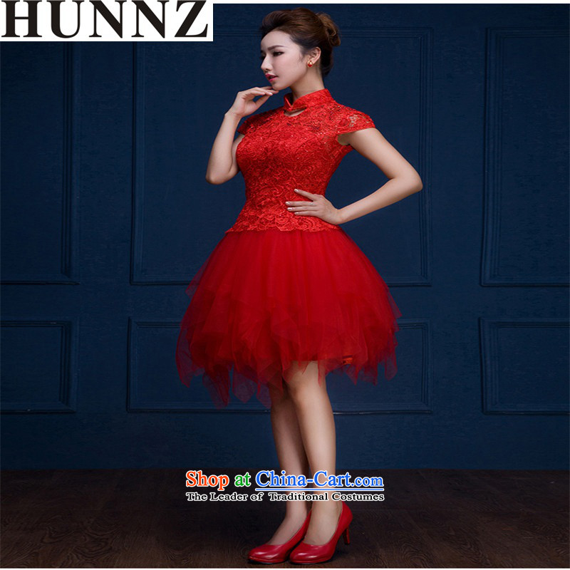 Hunnz    ?new lace larger Sau San minimalist wedding dress 2015 new spring and summer evening dress bows service banquet red?XL
