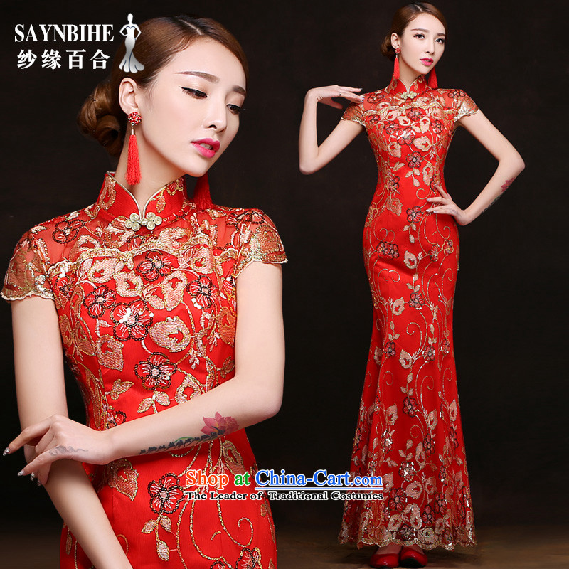 The leading edge of the Formosa lily wedding dresses 2015 autumn and winter new word shoulder crowsfoot dress lace video thin dress bride bows service banquet red dress marriage ceremony red advanced customization crowsfoot