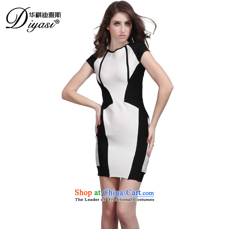 Hua Qi Avandia, 2015 New white bandages skirt aristocratic Sau San gathering small dress temperament round-neck collar dresses black and white聽XS