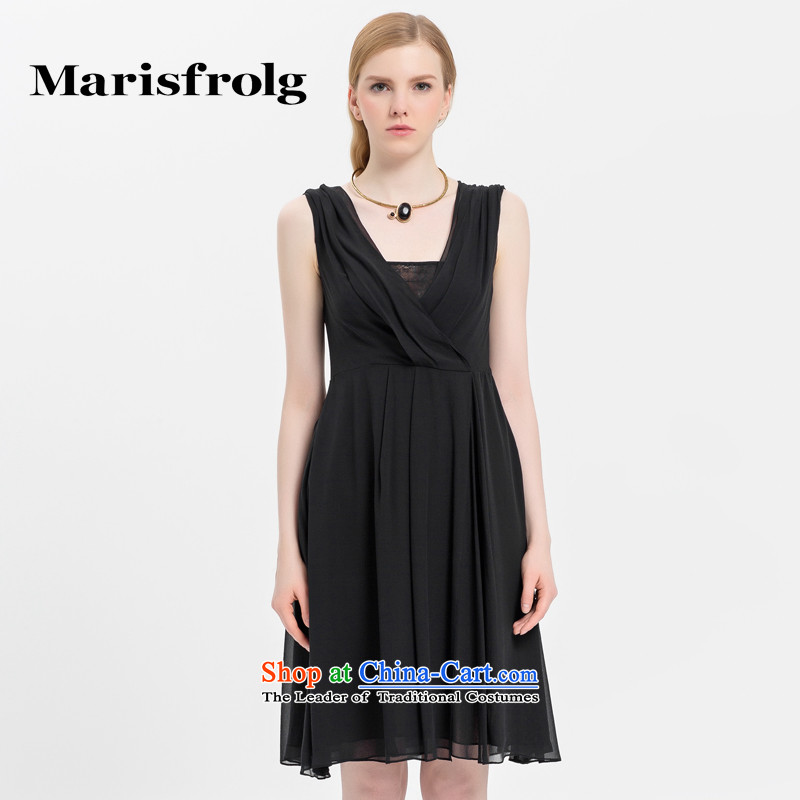 Marguerite had Rumsfeld marisfrolg_ soft V-Neck Silk Dresses genuine counters at the beginning of autumn female new black?2_M_38