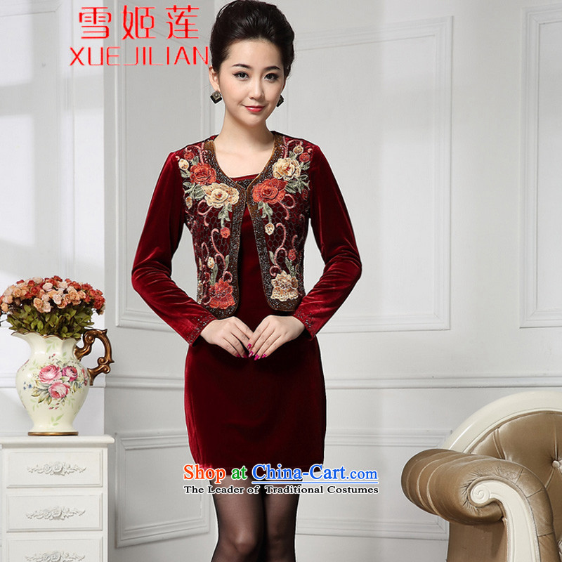 Michelle Gellar Lin's autumn new wedding wedding ceremony in mother Kim velvet skirts older emulation two kits dresses _6220 wine red?XL