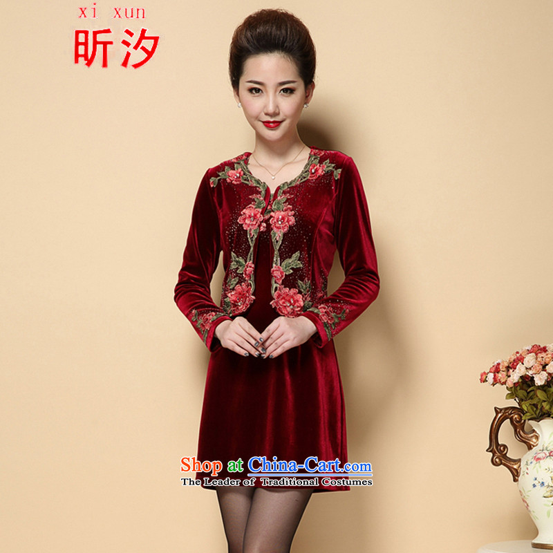 The litany of desingnhotels? _2015 fall inside the new Marriage wedding wedding dress mother with two-piece set emulation Kim velvet older _6221?XXXXL wine red