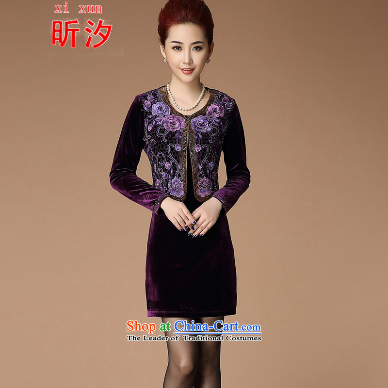 The litany of desingnhotels? _2015 autumn new wedding wedding ceremony in mother Kim velvet skirts older emulation two kits dresses _6220?XXXL violet