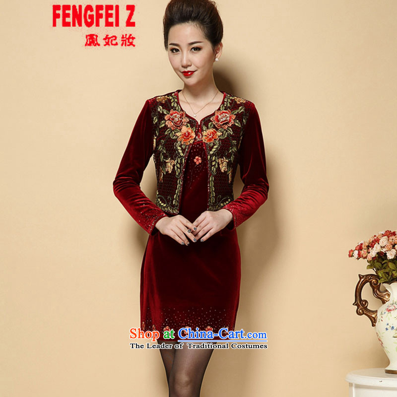 Feng Fei, Colombia15 2015 Autumn new wedding wedding her mother-in-law in both the mother wedding dresses emulation, older velvet #622?XXXL wine red